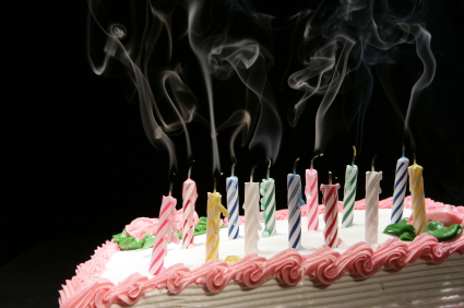 Candles Being Blown Out On Birthday Cake