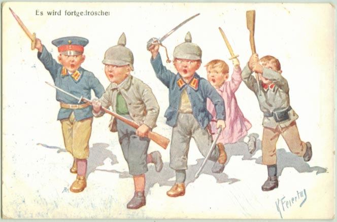 Kids playing soldiers