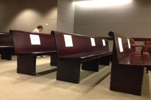 The reserved press section at the Gosnell trial, because baby-killing is no longer news in America.