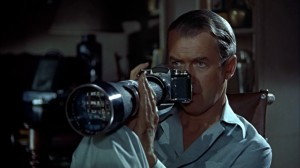 "Photographer/artist/ Peeping Tom Arne Swenson as played by Jimmy Stewart in ""Rear Window."""