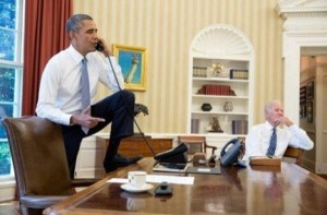 """Hey! Get that foot off of your own desk! Who do you think you are, President of the...oh. Right."""""""