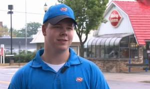 """""""Good job, Joey!You made Dairy Queen proud and brought honor to the store, Here's 40 dollars."""""""