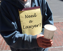 Quick, get a non-lawyer to pay you to teach him about the law, then you will have  rent money, and he'll be unemployable!