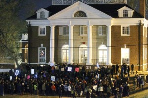 """Student protest against campus rape at UVA. And if the rape didn't happen? Take a cue from the """"hands up!"""" crowd: keep protesting. The news media won't notice."""