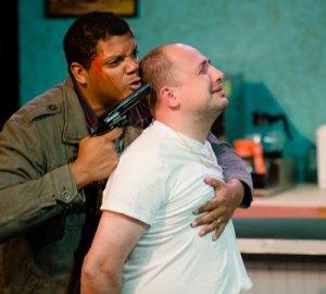 """Cops"": Chaz Pando as the doomed perp; Nello DeBlasio as the hostage."