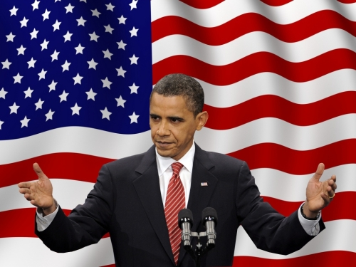 Obama with-United-States-Flag
