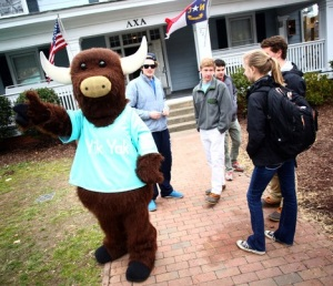 The cute Yik Yak mascot, hanging out at a fraternity, where ethics go to die.