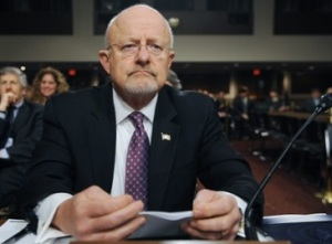 NSA head James Clapper testifying, forgetting, speaking in code, misleading or lying. Something. Whatever.