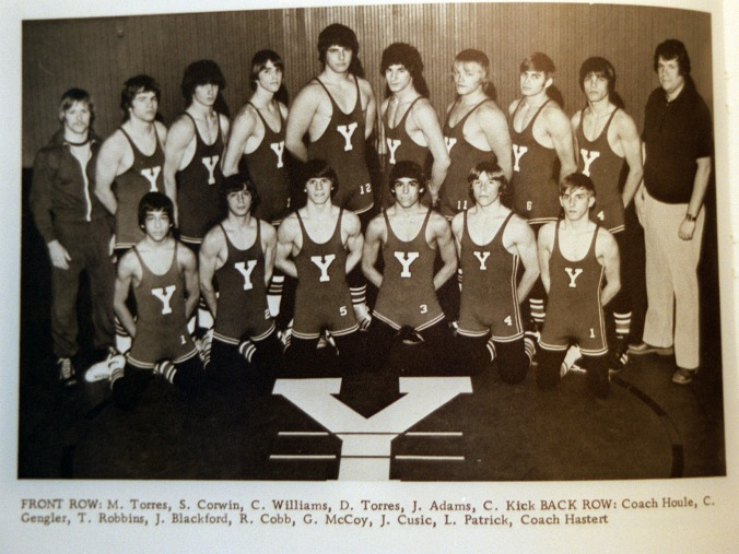 12-20-98 Copy photo from 1976 Yorkville Yearbook which shows Dennis Hastert who coached the 1976 state champion wrestling team...