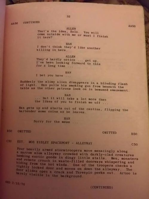 Star Wars Bar Script