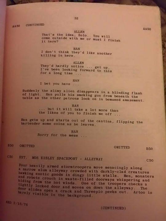 Star Wars Bar Script