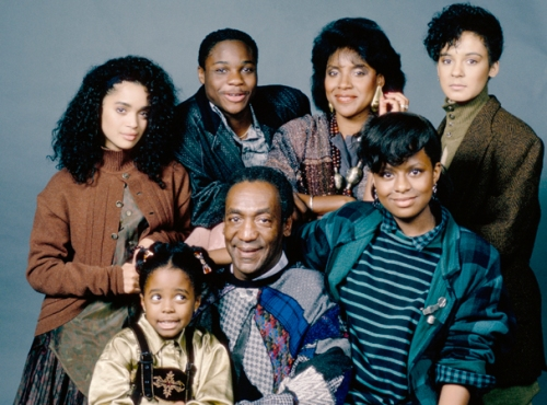 THE COSBY SHOW -- Season 3 -- Pictured: (front row l-r) Keshia Knight Pulliam as Rudy Huxtable, Bill Cosby as Dr. Heathcliff 'Cliff' Huxtable, Tempestt Bledsoe as Vanessa Huxtable (back row l-r) Lisa Bonet as Denise Huxtable Kendall, Malcolm-Jamal Warner as Theodore 'Theo' Huxtable, Phylicia Rashad as Clair Hanks Huxtable, Sabrina Le Beauf as Sondra Huxtable Tibideaux  (Photo by Alan Singer/NBC/NBCU Photo Bank via Getty Images)