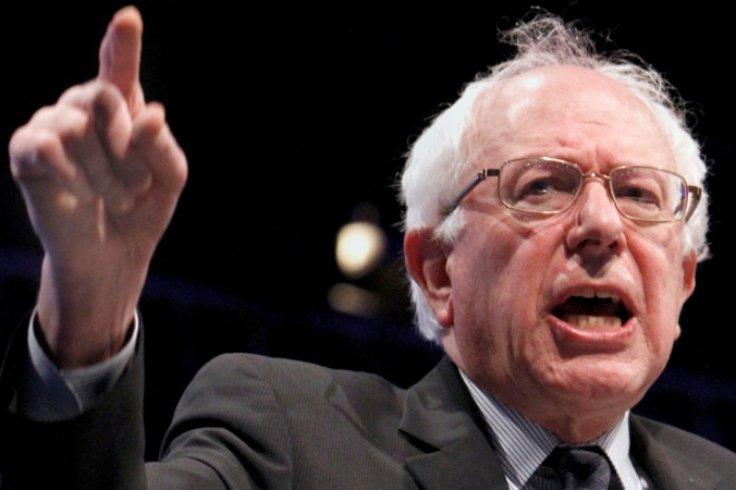 U.S. Sen. Bernie Sanders, I-VT, gestures as he speaks at the Californi Democrats State Convention in Sacramento, Calif., Saturday, April 30, 2011. Sanders called on Democrats to work together to stop what he calls the GOP's attack on the middle class.(AP Photo/Rich Pedroncelli)