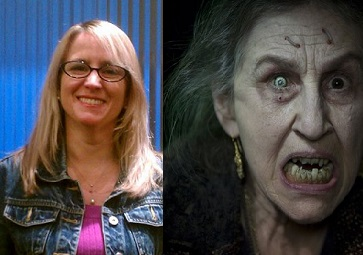 """(L) Auntie Jenn in her """"Loving Aunt"""" disguise, and (R), my best guess at what she looks like without it..."""