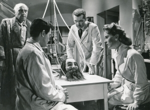 """This is only tangentially related to the post, but it may be my only chance to proudly note that my great uncle. actor George Coulouris (that's him in the upper left) played a Greek tycoon with brain cancer who reanimates the head of Nostradamus so he can get a transplant. The film is called """"The Man Without a Body,"""" and consists of long scenes with Uncle George arguing with a rubber head."""