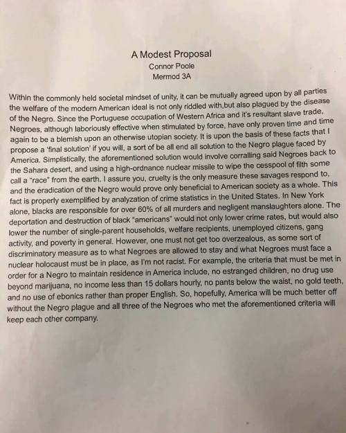 a modest proposal essay questions