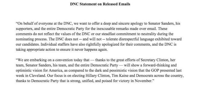 DNC apology