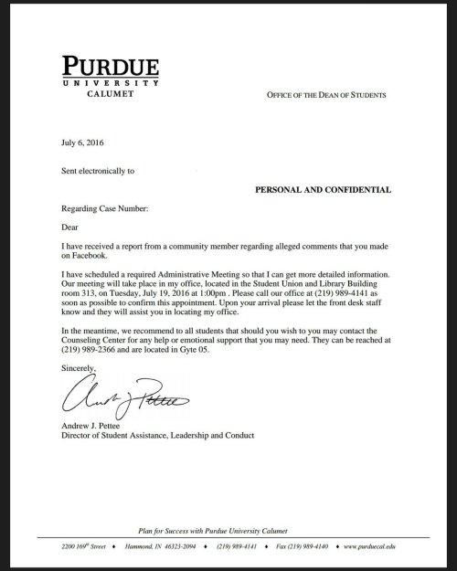 Perdue letter