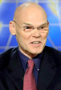 Now, you might think I'm violating my promise not to use unattractive photos of unethical people to make them look bad, but I'm not. James Carville looks like snake no matter what photo you use. Condign justice.