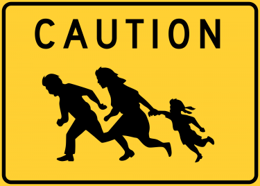 illegal crossing sign