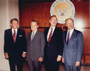 Pop Quiz: Who is missing from this picture from the dedication of the Nixon Library in 1990, and why?