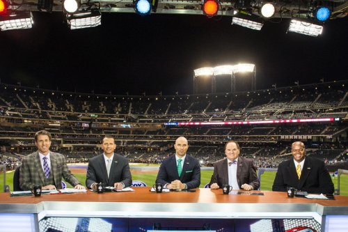 The ex players are (R to L), Hall of Famer Frank Thomas, banned Pete Rose, rapidly being forgotten Raul Ibanez, and the nearly universally detested Alex Rodriguez.