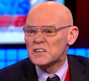 I swear, I didn't pick this photo to make James Carville look crazy or nasty. This is really what he looked like today...