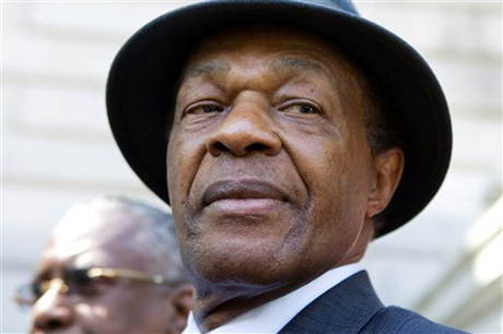 Former District of Columbia Mayor Marion Barry attends a news conference on the steps of Washington's city hall Monday, July 6, 2009. At the news conference Barry's attorney Frederick Cooke said Barry vehemently denies the allegation by Donna Watts-Brighthaupt, and that he's confident the stalking charge will be dropped. Barry, 73, stood behind Cooke but said nothing. (AP Photo/Manuel Balce Ceneta)