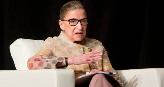 "FILE - In this May 26, 2016 file photo, Supreme Court Justice Ruth Bader Ginsburg takes part in a conference in Saratoga Springs, N.Y. Ginsburg says she doesn't want to think about the possibility of Donald Trump winning the White House, and predicts the next president, ""whoever she will be,"" probably will have a few appointments to make to the Supreme Court. (AP Photo/Mike Groll, File)"