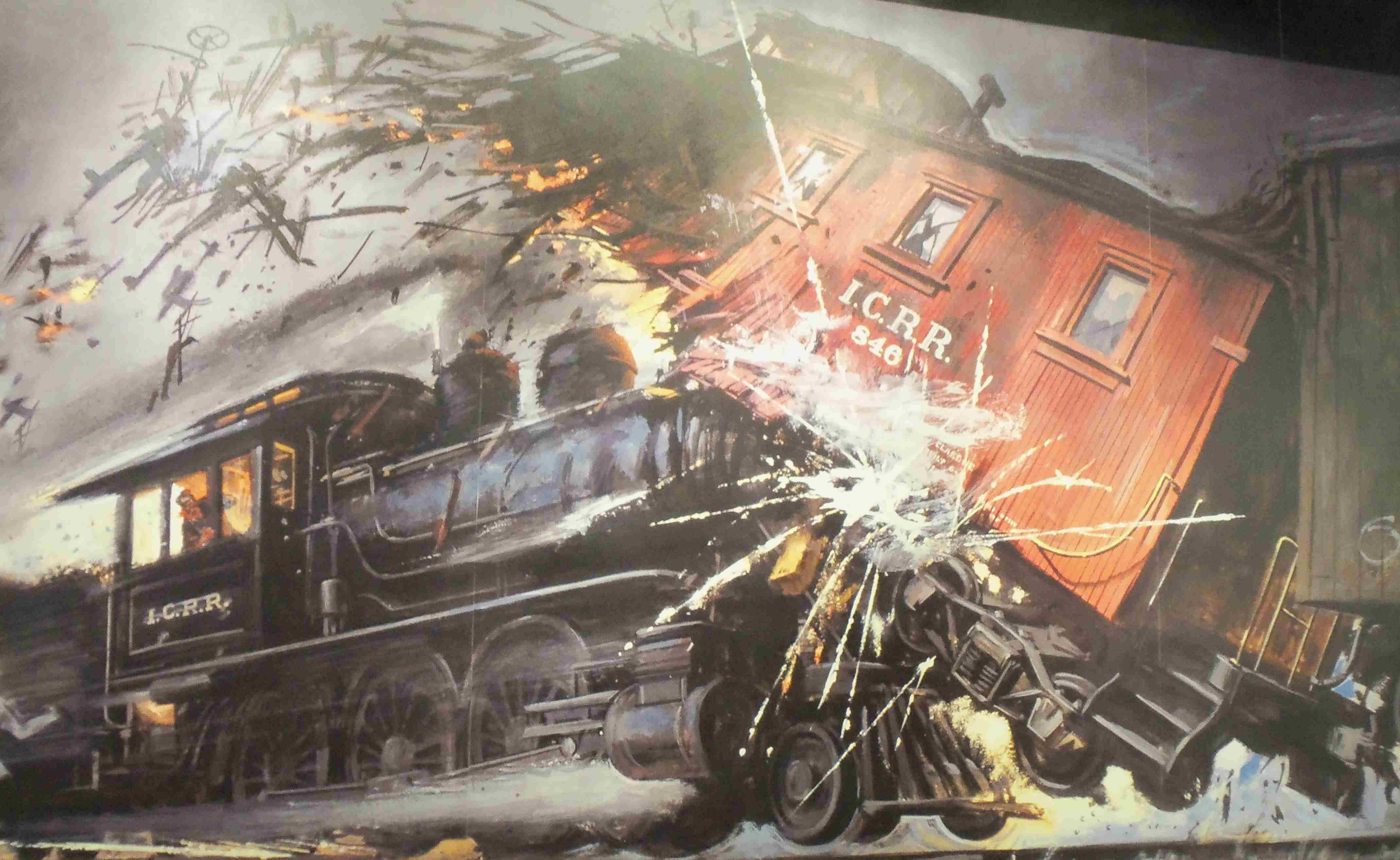 train wreck painting