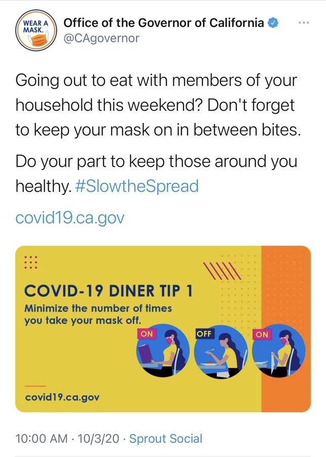 Mask between bites.