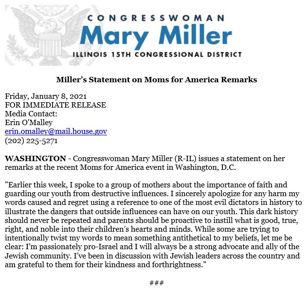 Miller apology