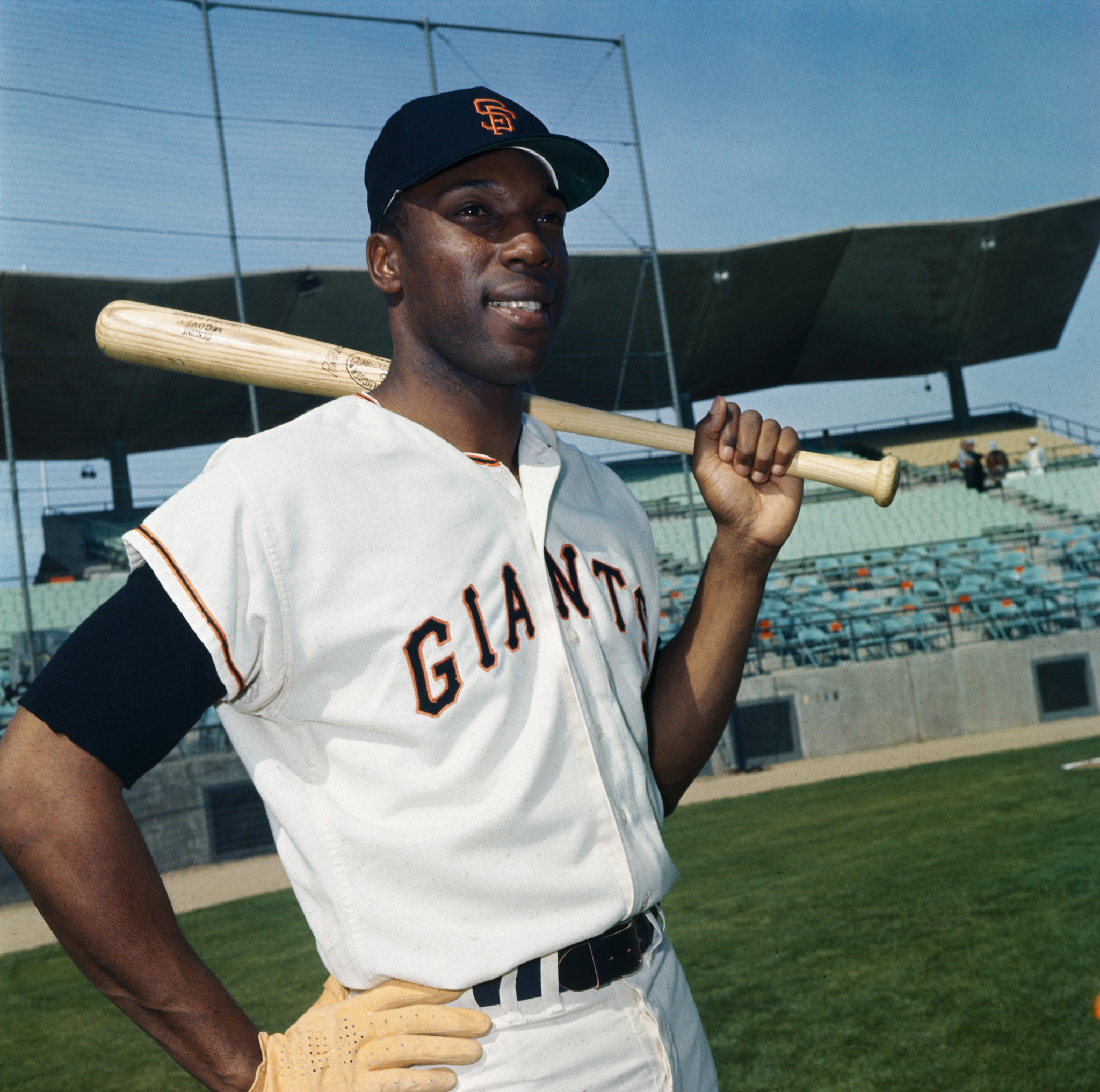Willie McCovey Holding Baseball Bat
