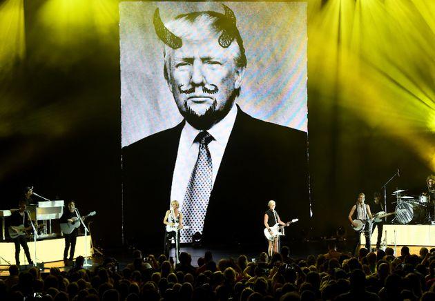 Trump photo defaced