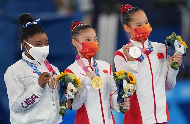 Biles medal ceremony