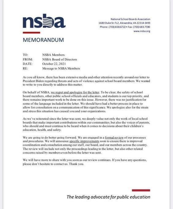 NSBA apology